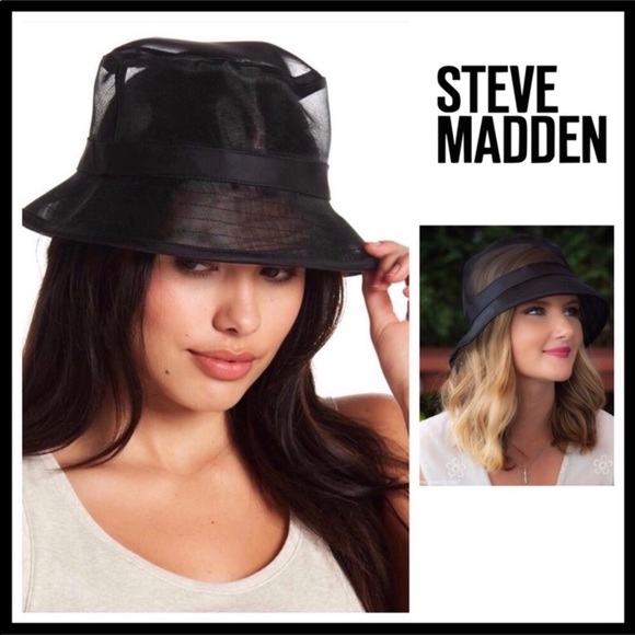 9a7d166a312 STEVE MADDEN LUXE BLACK GLAM MESH BUCKET HAT